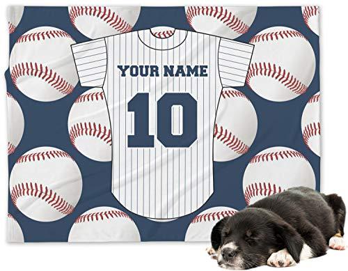 RNK Shops Baseball Jersey Minky Dog Blanket - Regular (Personalized)