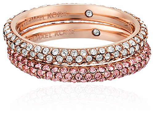 Michael Kors Rose Gold-Tone and Light Rose Pave Stackable Ring, Size (Kors Michael Kors Womens Pop)