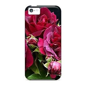 MeSusges Premium Protective Hard Case For Iphone 5c- Nice Design - Purple Roses
