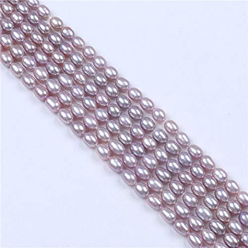 Calvas AAA Wholesale 5-6mm Freshwater Natural Purple Pink Rice Pearl Loose Beads 14' - (Color:, Item Diameter: 5mm)