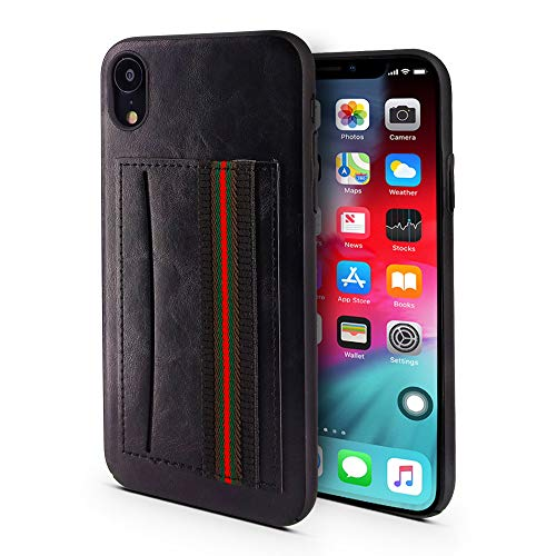 Case for iPhone XR   Hand Strap and Credit Card Pocket   Luxury Durable Embossed Leather Cover/Bumper/Skin/Cushion (Compatible only with The 6.1 iPhone XR) (Black)