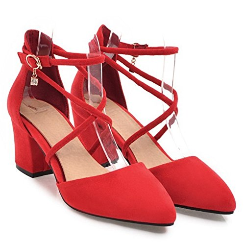 COOLCEPT Damen Cross Strap Pumps Red