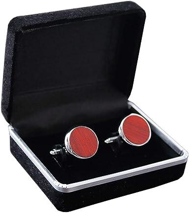 Junkai 1 pares de gemelos redondos esmoquin conjunto de tachas para camisa de vestir para hombre Accesorios de boda de negocios Gemelos de madera- gemelos con caja de regalo: Amazon.es: Ropa y accesorios