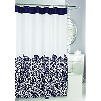 Moda At Home 204361 Bella Water Repellent Fabric Shower Curtain 71 Inch X