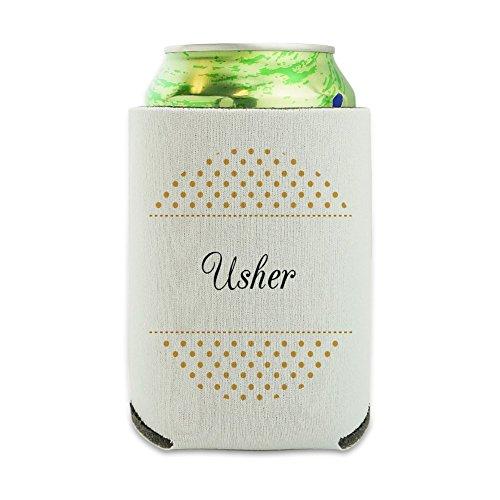 Usher Wedding Elegant Polka Dots Can Cooler - Drink Sleeve Hugger Collapsible Insulator - Beverage Insulated Holder -