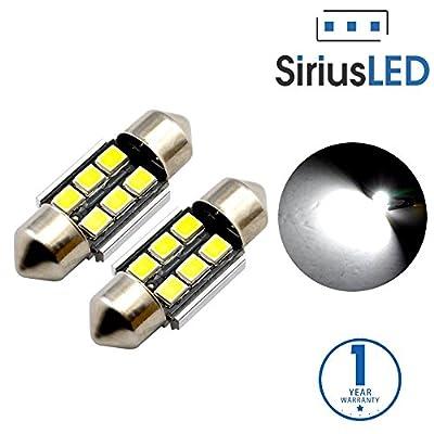 "SiriusLED Super Bright 2835 Chipset Canbus Error Free LED Festoon Bulbs for Car Interior Lights License Plate Dome 1.25"" 31MM Festoon 3175 DE3175 6428 6000K Xenon White Pack of 2"
