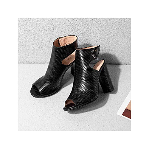 2019 Women Sandals High Heels Slingback Summer Shoes Sexy Python Pattern Pumps Open Toe,Black,38