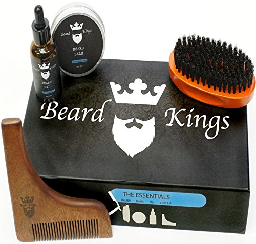 Beard Kings Grooming Kit - Boar Bristle Brush, Wooden Shaping Comb Tool, Natural Sandalwood Scented Balm and Oil - Professional Styling Maintenance and Care - Starter Moisturizing set for Bearded Men