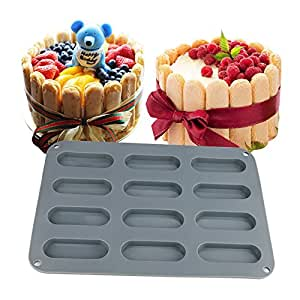 SuperStores 12 fingers Biscuit silicone cake mold bakeware set silicone moulds for cake decorations chocolate mold