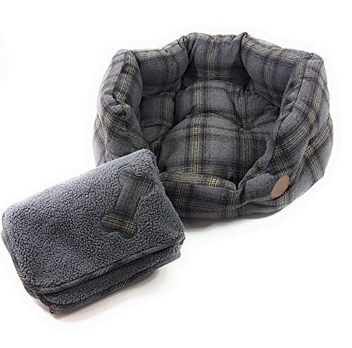 Luxury HIGH Quality Grey Tweed Tartan Check Supersoft Fleece PET Dog Medium Basket Bed & Blanket