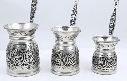 Heavy Duty Hand Made Engraved Copper Turkish Greek Arabic Armenian Coffee Pot SET - Stovetop Coffee Maker Cezve Ibrik Briki with Brass Handle - Small-5.1Oz/Medium-8.4Oz/Large-11.8Oz - (CPS-107) by Handcraftideas (Image #1)