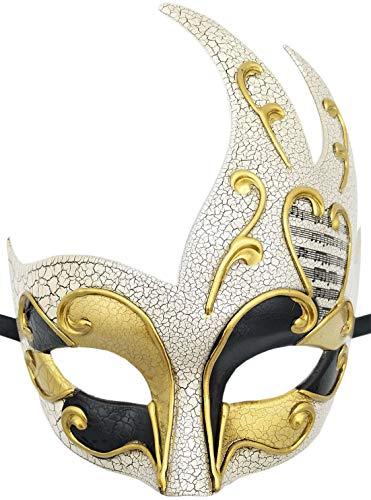 Mens Masquerade Mask Checkered Cracked Vintage Prom Halloween Mardi Gras Venetian Party Mask (B Gold -