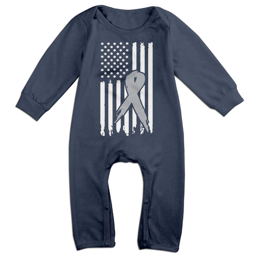 Mri-le1 Baby Girl Long Sleeve Jumpsuit Brain Cancer Ribbon USA Flag Awareness-1 Baby Rompers