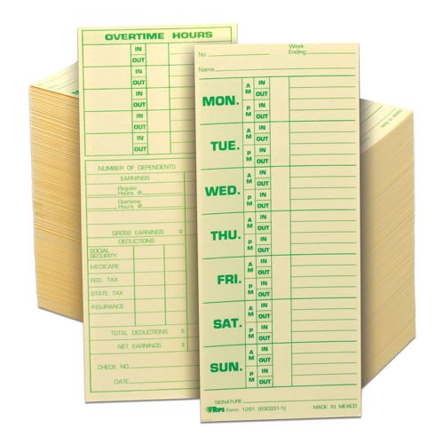 TOPS Weekly Time Card - Numbered Days, 3-1/2 inch x 8-1/2 inch 500ct TOP 1291