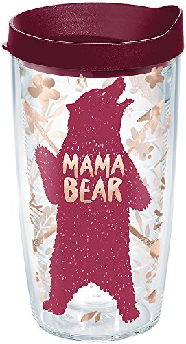 Tervis 1289208 Standing Mama Bear Tumbler with Wrap and Maroon Lid 16oz, Clear