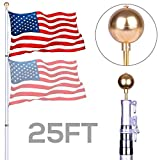 NsDirect 25 ft Telescopic Aluminum Flagpole Flag Pole Kit - Can Fly 2 Flags - Free 3'x5' US American Flag - Gold Ball Fly Top Finial - Outdoor Home Garden Festival Décor