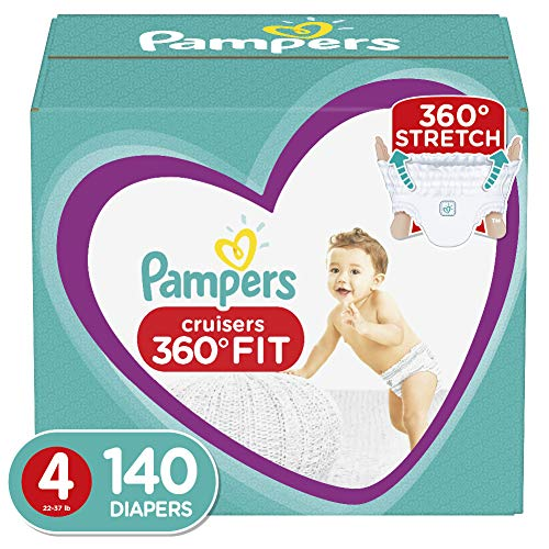 Diapers Size 4, 140 Count - Pampers Pull On Cruisers 360˚ Fit Disposable Baby Diapers with Stretchy Waistband, ONE MONTH SUPPLY