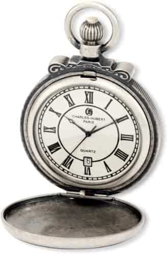 Charles-Hubert, Paris 3863-S Classic Collection Antiqued Finish Hunter Case Quartz Pocket Watch