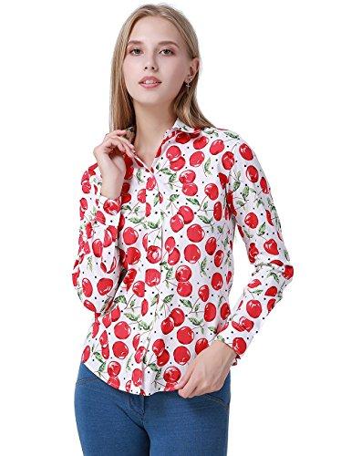 DOKKIA Women's Tops Tropical Casual Blouses Long Sleeve Work Button Up Dress Beach Aloha Hawaiian Shirts (Medium, White Red Apple)