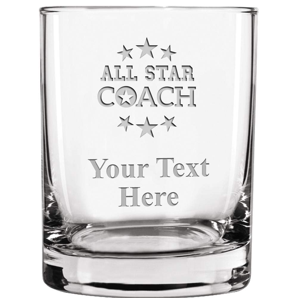 Amazon.com | Custom Engraved Double Old Fashioned Glass, 13.5 oz Personalized Coaching Whiskey Glass Gift, Coach Gifts, Your Own Text Included: Old ...