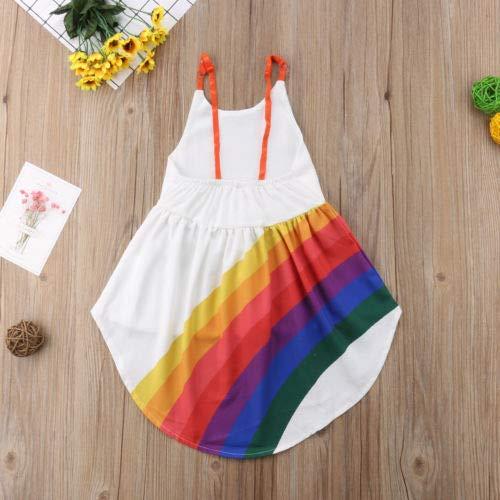 Infan Girl Rainbow Print Spaghetti Straps Sleeveless Backless High Low Dress Toddler Summer Cami Dress 1-6T