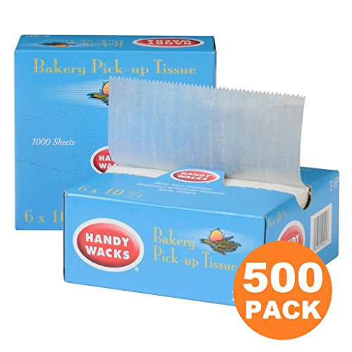 500 Interfolded Food and Deli Dry Wrap Wax Paper Sheets with Dispenser Box, Bakery Pick Up Tissues, 6 x 10.75 Inch [500 Pack] - Tissue Food
