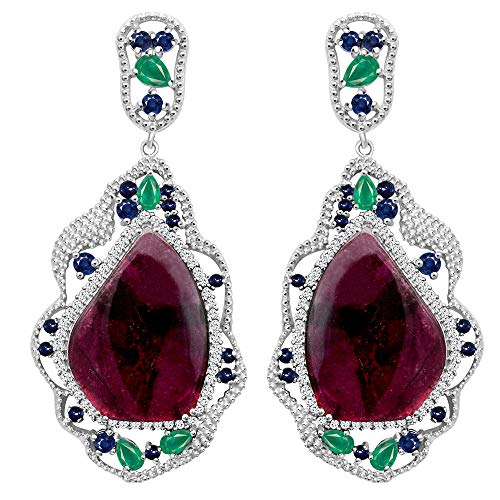 Sterling Silver Earring For Women | Multi Birthstone Earring | 22.09 Carat Multi Color Tourmaline, Emerald, Sapphire & Topaz Engagement Earring by Orchid Jewelry | Simple. Beautiful. Affordable.