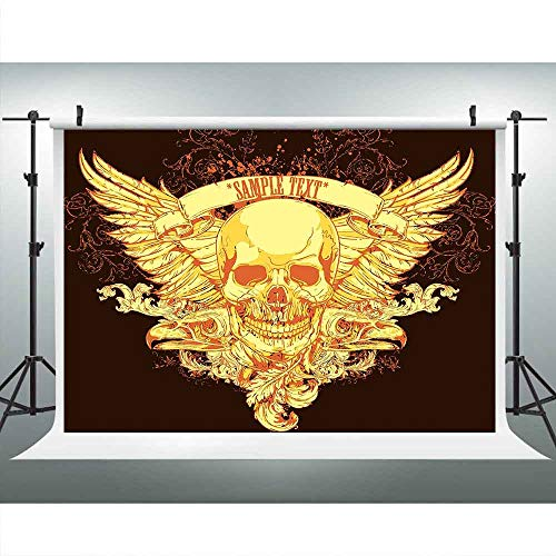(Golden Skull Background 9x6ft Wings Eagle Head Photography Backdrop Photo Booth Studio Props LUCKSTY LUP152)