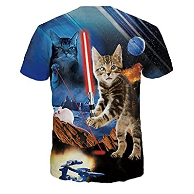 ColorFino Unisex Funny 3D Printing Laser Cat T-shirt Hipster Clothing