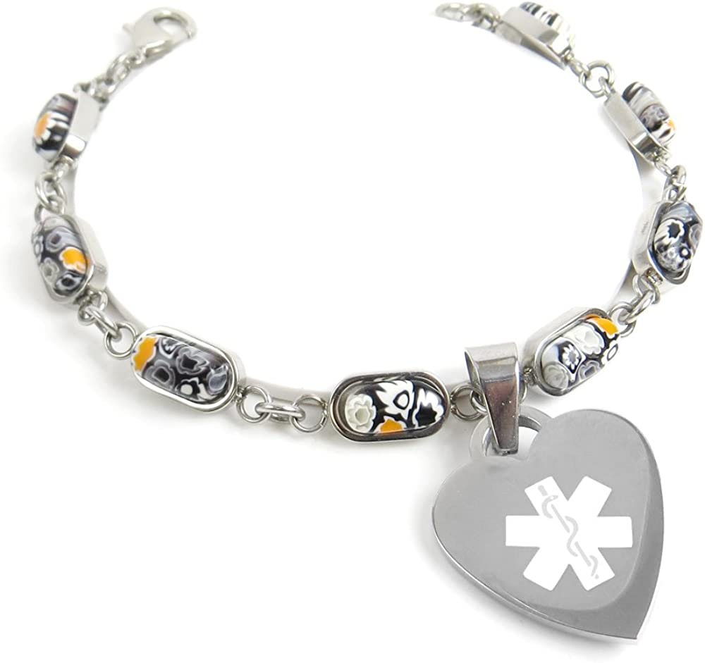 Pre-Engraved /& Customized Insulin Dependent ID Bracelet My Identity Doctor Black//White Millefiori Glass Pattern Black