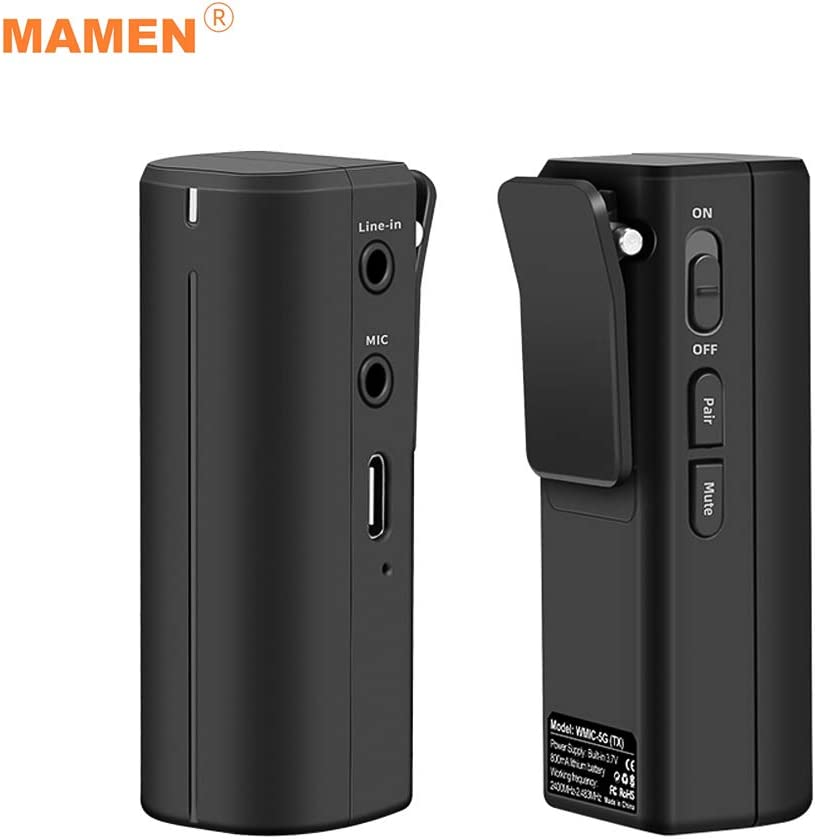 Portable 2.4G Micrófono inalámbrico de solapa Micrófono Transmisor receptor Sistema 360 ° Captura de sonido Máx. Alcance efectivo de 50M con interfaz de auriculares de 3.5 mm Batería de litio