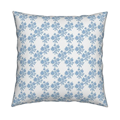 Roostery Blue Eco Canvas Throw Pillow Cover Swedish Rose Trellis in Blueberry Blue by Lilyoake Cover Only