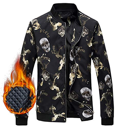 Men's Jacket, Skull Pattern Winter Outdoor Quilted Cotton Padded Bomber Jacket Windbreaker Coat Outerwear Men, 5#Padded, US X-Large/48 = Tag 6XL -