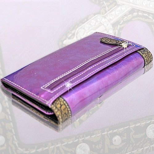 Double Guns Women Wallet with Rhinestones Western Style- PURPLE