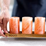 Himalayan Salt Shot Glasses 4 Pack With Acacia Wood Serving Board from Root7. Use Salt Shots with Tequila. FDA Approved Ethically Sourced 100% Natural Himalayan Salt Shot Glasses.