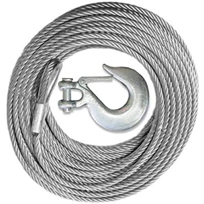Winch Cable with Mega Winch Hook – GALVANIZED - 3/16 inch X 50 ft (4,200 lb strength) (VEHICLE RECOVERY)
