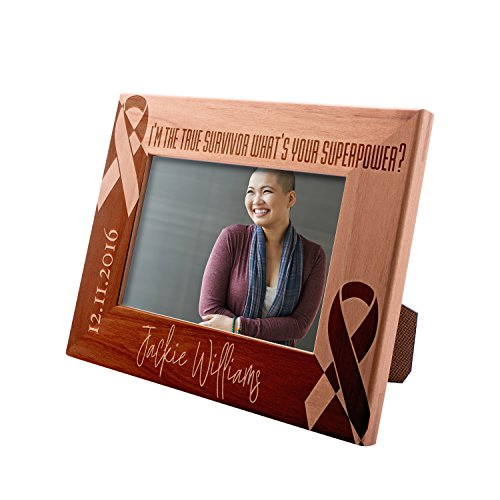 Personalized Survivor Picture Frame 4x6 Gift, What's Your Superpower Custom Engraved with Name, Date & Text | Breast Cancer Survivor ()