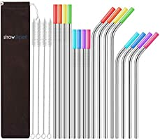 StrawExpert 16 Pack Metal Straws