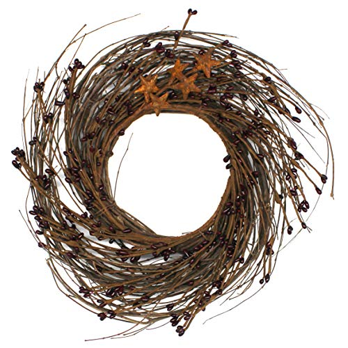 CVHOMEDECO. Primitives Rustic Pip Berries and Twig with Rusty Barn Stars Wreath, 12-Inch, Burgundy ()