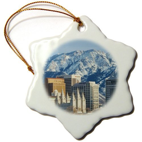 Ornaments to Paint _ Wasatch Mountains, Salt Lake City Skyline, Utah Usa Us Bjn Brian Jannsen Snowflake Ornament, Porcelain, 3-Inch