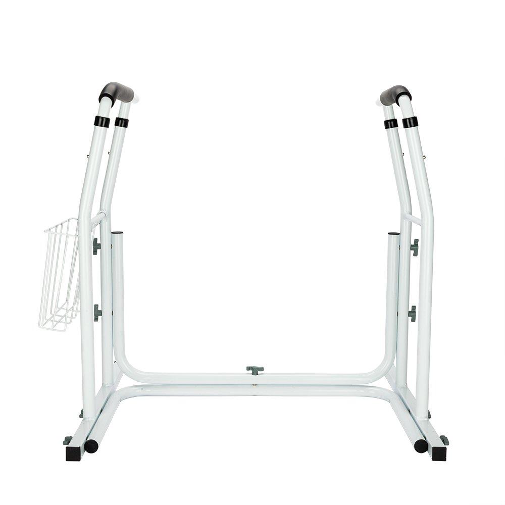 Jskjlkl Toilet Safety Rail Stand Alone Handrail Grab Bar with Magazine Rack White