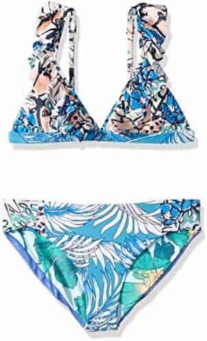 05001f77705 Maaji Girls' Fixed Triangle with Ruffle Straps Bikini Swimsuit Set