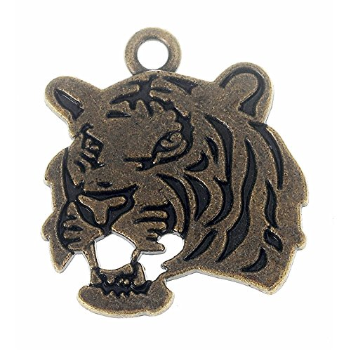 - 22Pcs Tiger Head Charms Double-Sided DIY Jewelry Making Pendant Fit Bracelet Necklace Vintage Antique Silver,Antique Bronze (Antique Bronze)
