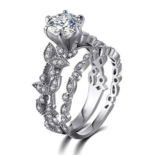 Leaf Design Diamond (Womens rings,Lamolory Leaf Design For Jewelry White Diamond Wedding Engagement Ring Set (9#))