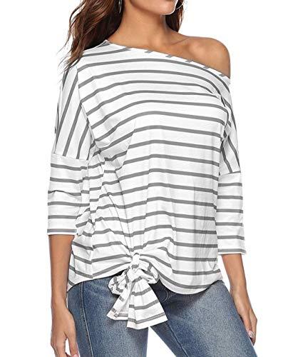 paule Fashion Jumper 3 Shirts T Tops Blouse Automne Printemps Chemisiers Tee Hauts Manches JackenLOVE Femmes 4 Rayure Casual pour Gris et Oblique qpv6Aw7x