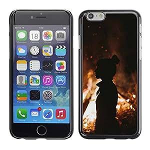 Paccase / SLIM PC / Aliminium Casa Carcasa Funda Case Cover - Fire Silhouette Orange Summer Mid Eve - Apple Iphone 6
