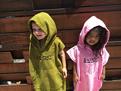 COR Board Racks Kids Towel Poncho - Light, Soft and Dries Fast | fits Ages 3-10 (Green) by Cor Surf by COR Board Racks (Image #6)
