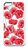 Red Poppies- Case for the APPLE IPHONE 5 Universal ONLY!!! (Not Compatible with the Iphone 5c) -Hard White Plastic Outer Case with Soft Inner Black Rubber Lining