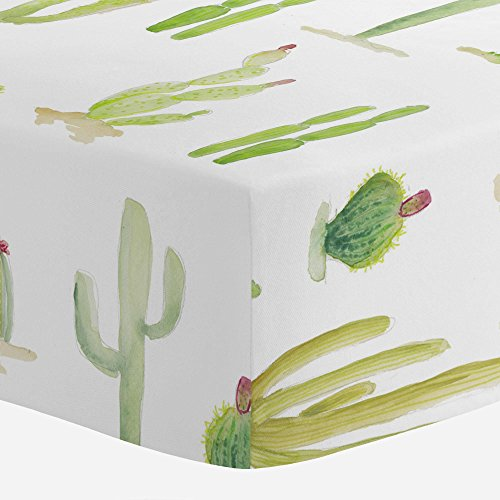 (Carousel Designs Watercolor Cactus Crib Sheet - Organic 100% Cotton Fitted Crib Sheet - Made in The USA)
