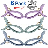 WEBI Beach Towel Clips, Ultra Strong, Jumbo Size Chair Clips for Beach Chair, Swimming Pool Stool, Durable Quilt Hanging Clips Clothes Pin to Hold your Clothes Blanket, 6 Pcs,3 Color